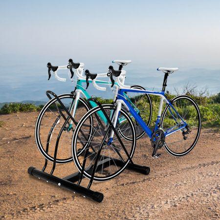Fahrradständer Bodenparker für 2 Fahrräder Schwarz 60 x 53 x 56 cm