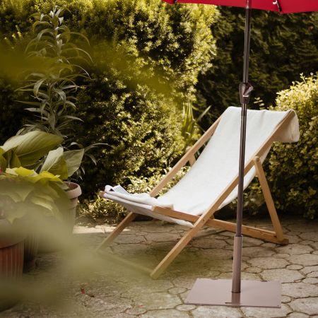 Costway Schirmständer mit 2 Feststellknöpfen & 2 Rädchen tragbarer Schirmständer 60,5 x 61 x 36 cm Braun
