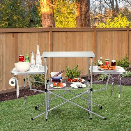 Costway Klappbarer Campingtisch mit Tragetasche Campingküche BBQ Kochstation Falttisch für Grillpartys Silber