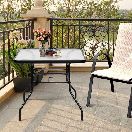 Costway Terrassentisch Rechteckiger Kaffeetisch mit Tischplatte Bistrotisch Gartentisch Glastisch Schwarz