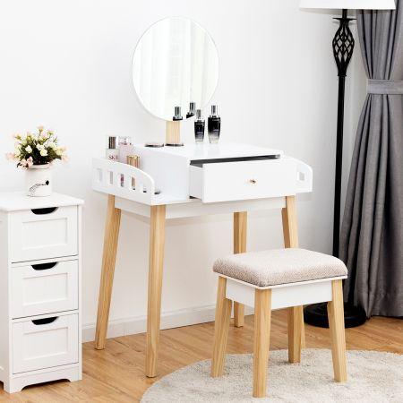 Costway Schminktisch Frisiertisch Schminkkommode mit Spiegel und Hocker Weiß Holz 69 x 43 x 125,5 cm