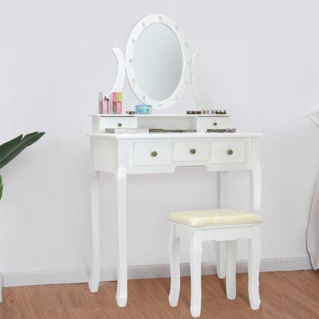Costway Schminktisch Set Frisiertisch Kosmetiktisch mit Hocker und Spiegel Weiß Holz