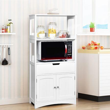 Costway Haushaltsregal Aufbewahrungsschrank Küchenregal Unterschrank mit Schublade Weiß 32,5 x 60 x 122 cm