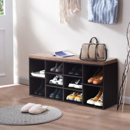 Schuhbank mit Sitzfläche Schuhregal Schuhkommode Schuhablage Schuhschrank Sitzbank mit Regal & Sitzkissen Holz Braun