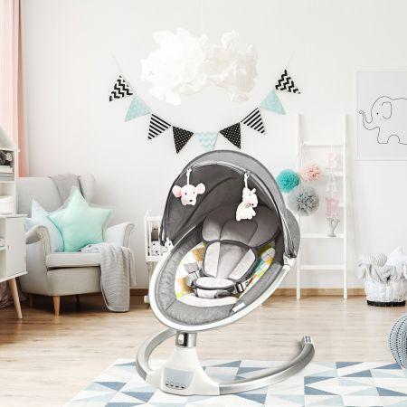 Costway Babywippe Elektrischer Baby Schaukelstuhl Baby Schaukel mit 5 Schaukelpositionen
