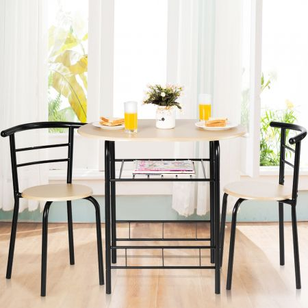 Tischgruppe 3 tlg Minimalismus Design Küche Essgruppe Esszimmergarnitur Schwarz