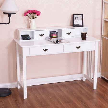 Costway Schreibtisch mit 4 Schubladen 2-stöckiger Tisch Computertisch mit abnehmbarem Aufsatz 120 x 48 x 77 cm Weiß
