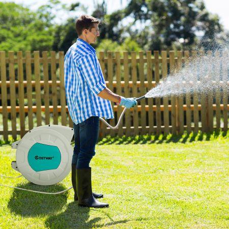 Costway Einziehbare Gartenschlauchtrommel Schlauchtrommel für Wandmontage Hochleistungs-Wasserschlauchtrommel 19,5 m