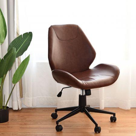 Costway Bürostuhl höhenverstellbar Schreibtischstuhl Chefsessel drehbar Braun