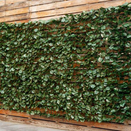 Costway Künstliches Pflanzenwand Hecke Efeublättern Sichtschutz Heckenpflanze Outdoor & Indoor Gartenzaun 150 x 300cm