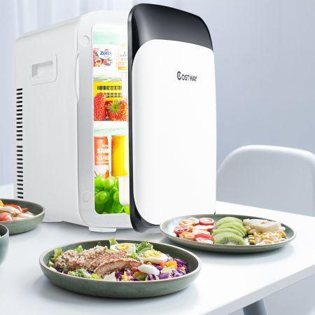 Costway 15L Mini Kühlschrank 2 in 1 Kühl- und Heizfunktion Tragbarer Kühltruhe Getränkekühler 38cm x 33cm x 27cm Weiß