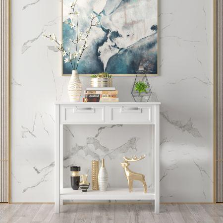 Costway Konsolentisch Beistelltisch Industrie Design Sofatisch mit 2 Schubladen 80,5 x 35,5 x 82 Weiß