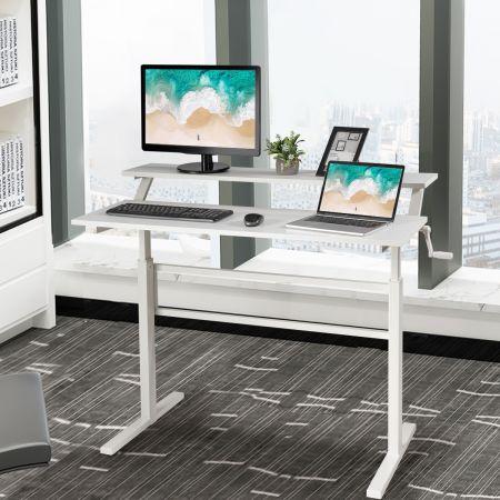 Costway 2-Etagen Höhenverstellbarer Ergonomischer Stehtisch Sitz-Steh-Schreibtisch 120 x 60 x 88-126 cm Weiß