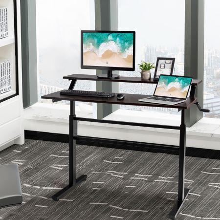 Costway 2-Etagen Stehtisch Sitz-Steh-Schreibtisch mit Monitor Regal Höhenverstellbar 120 x 60 x 88-126 cm Braun