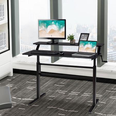 Costway 2-Etagen Höhenverstellbarer Sitz-Steh-Schreibtisch Ergonomischer Computertisch 120 x 60 x 88-126 cm Schwarz
