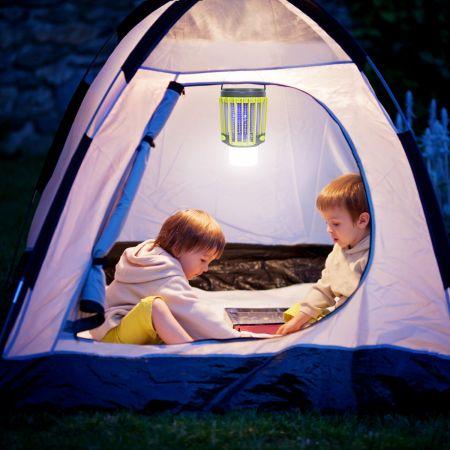 Costway 3-in-1 Insektenvernichter Solar-Campingleuchte Mückenkiller Taschelampe Mückenlampe Notlicht