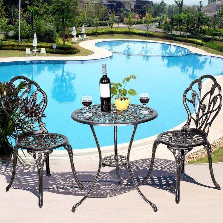 Alu Balkonset Bistroset Gartenmöbel Tisch mit 2 Stühle Sitzgruppe Balkonmöbel