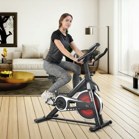Costway Indoor Fahrrad mit 6KG Schwungrad Heimtrainer Fitnessbike bis 120KG belastbar Rot