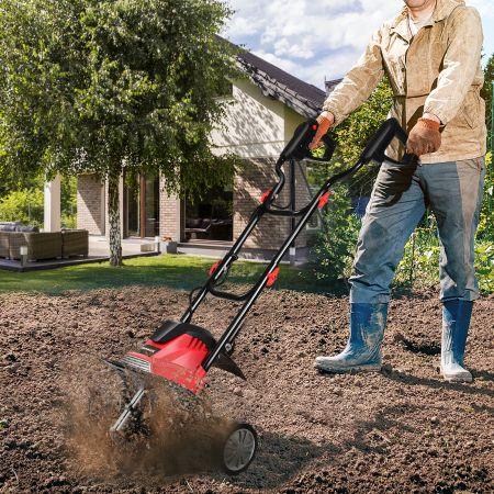 Costway Elektrische Bodenfräse und Grubber Elektro Bodenhacke Bodenfräse Gartenfräse rot und schwarz