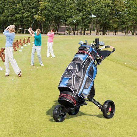 Costway 3-Rad Golftrolley Golfwagen Golf klappbar Einfacher Schiebe- und Zugwagen Schwarz