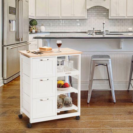 Costway Küchenwagen Rollbare Kücheninsel Servierwagen mit 2 Ebenen Lagerregal Weiß  67 x 37 x 82,5 cm