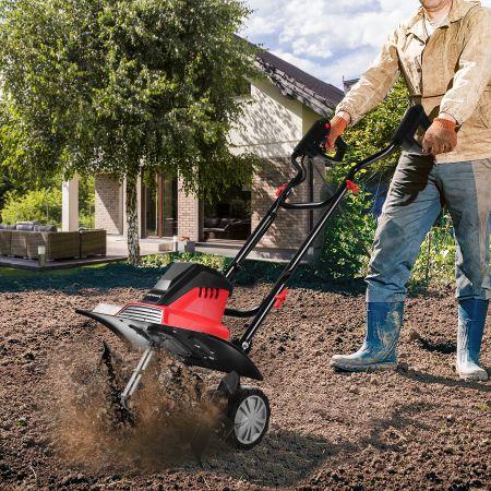 Costway Elektrische Bodenfräse und Grubber Mini-Grubber Elektro Bodenhacke Bodenfräse Gartenfräse rot und schwarz