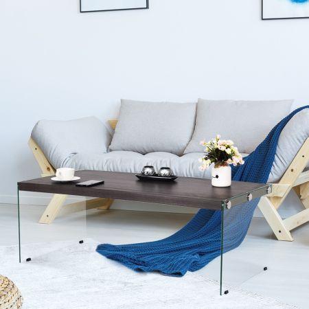 Costway Couchtisch Beistelltisch Wohnzimmertisch Kaffeetisch 110 x 55 x 40 cm Holz und Hartglas
