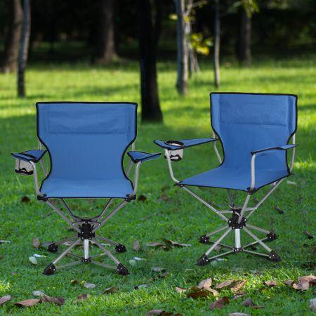 Costway Tragbarer Drehstuhl Camping Zusammenklappbarer Drehstuhl mit Armlehnen und Anti-Rutsch Fußpolster Blau