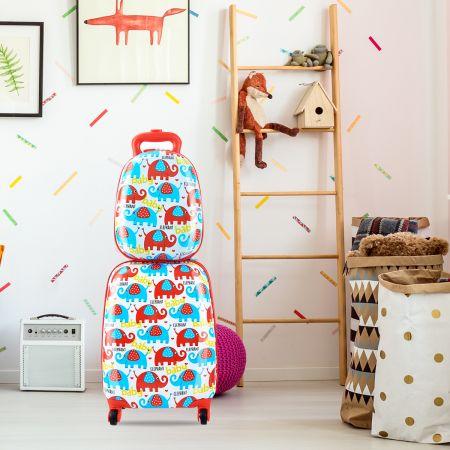 Kofferset 2 tlg Elefant 16'' Kinderkoffer + 12'' Rucksack Farbig