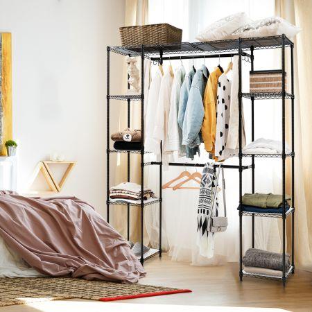 Costway Kleiderständer Ausziehbarer Garderobenständer Hängeregal mit Ablagen 148-210 x 35 x 180 cm Farbewahl
