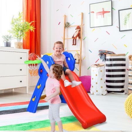 Costway Kinderrutsche Rutschbahn Gartenrutsche für Indoor und Outdoor mit Basketballkorb 108 x 58 x 71,5 cm Bunt