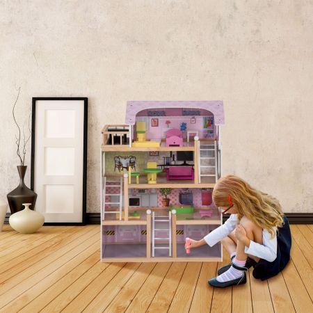 Puppenhaus 4 Etagen Puppenstube Barbie Haus mit Möbeln Holz 60,5 x 29.5 x 81 cm