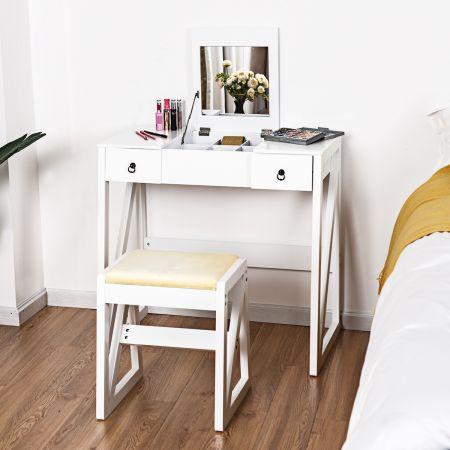 Kosmetiktisch 9 Fächer Multifunktionaler Frisiertisch Schminktisch mit Hocker und Klappspiegel Weiß 80 x 40 x 76 cm