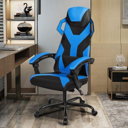 Costway Gaming Stuhl verstellbar Bürostuhl Chefsessel mit hoher Rücken Racingstuhl Blau