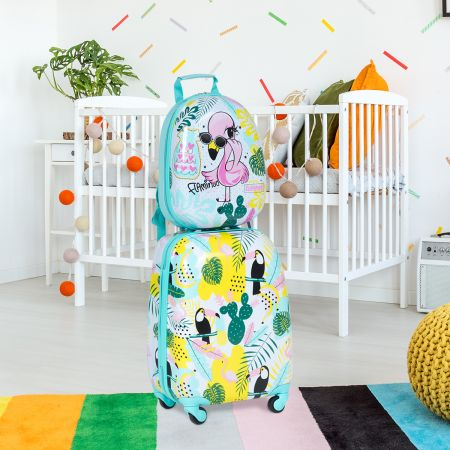 Costway 2 tlg Kindergepäck Flamingosblid Reisekoffer Kinderkoffer + Rucksack Blau