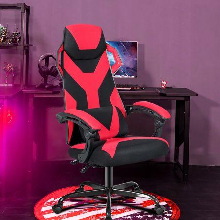 Costway Gaming Stuhl verstellbar Bürostuhl Chefsessel höhenverstellbar Rädern Racingstuhl Rot