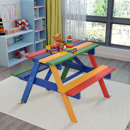 Kinder Sitzgruppe aus Holz Sitzgarnitur Gartengarnitur Kindermöbel Kindertisch mit Sonnenschirm & 2 Bänken für Außen