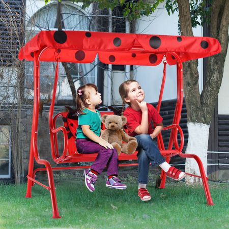 Costway Hollywoodschaukel 2-Sitzer Kinder Gartenschaukel Marienkäfer Rot 117 x 78 x 116 cm