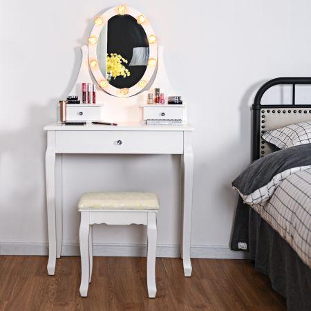 Costway Frisiertisch Set Schminktisch aus Holz mit Hocker und Spiegel Weiß