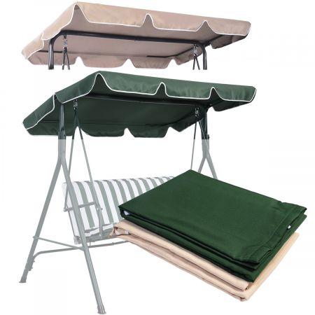 Costway Sonnendach Ersatzdach Dachbezug für Hollywoodschaukel Beige/Grün 196 x 109.5 cm