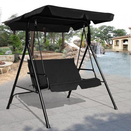 Hollywoodschaukel 2-Sitzer Gartenschaukel Gartenliege mit Sonnendach Schwarz 110 x 140 x 153 cm