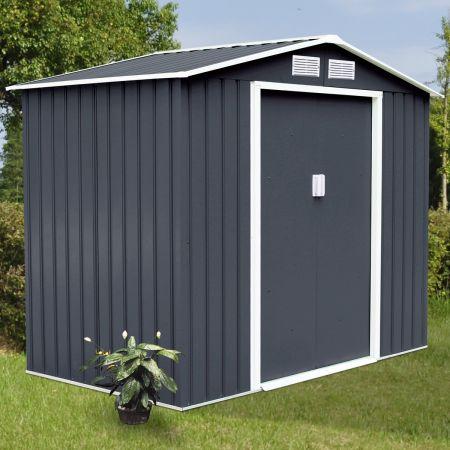 COSTWAY Gerätehaus Gartenhaus Geräteschuppen inkl. Metallfundament 277 x 191 x 192 cm Metall