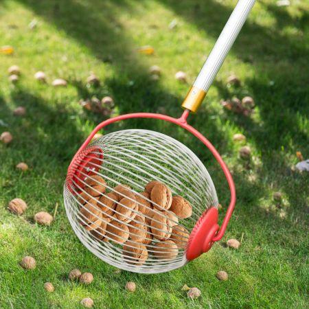 Obstsammler Nusssammler Rollsammler für Aufsammeln von Früchte Nüsse Golfbälle Edelstahl  70-128cm