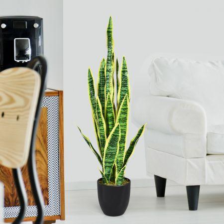 Künstliche Schlangenpflanze mit stabilem Topf Faux-Agave Kunstpflanze für Heim & Büro 90 cm gelb