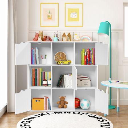 9-Fächer Stauraum Organizer Regal mit Türen freistehendes Holz Bücherregal