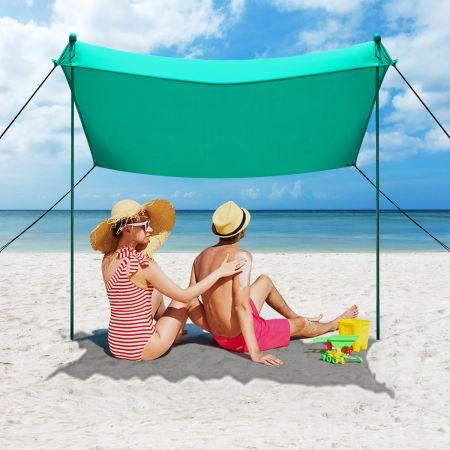 Strand Sonnenschutz Leichtes Strandzelt mit Tragetasche und 4 Sandsäcken LSF 50+