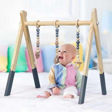 Baby Gym Babyspielgerät Spieltrapez Spielbogen Holzspielzeug Aktivitätszentrum mit 3 Kinderspielzeugen