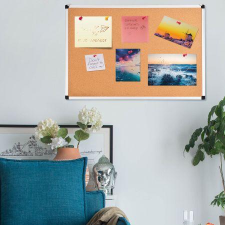 Pinnwand Korkwand Notizbrett Alu Korktafel Wandmontage mit 2 Aufhängehaken 60 x 90 cm