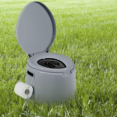 Campingtoilette tragbar Reisetoilette Mobile Toilette mit abnehmbarem Eimereinsatz grau