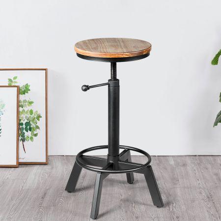 Costway Barhocker höhenverstellbar Barstuhl aus Holz und Metall Tresenhocker mit Fußstütze Bistrohocker